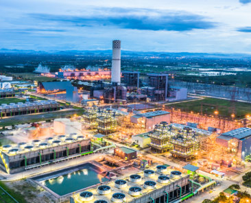 Aerial view power plant, Combined cycle power plant electricity generating station industry.