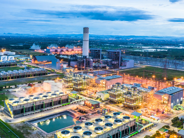 Aerial view power plant, Combined cycle power plant electricity