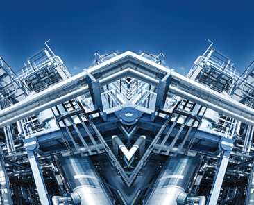 oil and gas refinery, blue toning illumination, panoramic